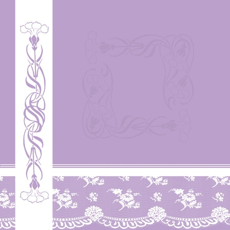 lace background: purple card with white lace