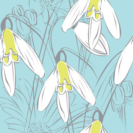 floral seamless blue background with white snowdrops Vector