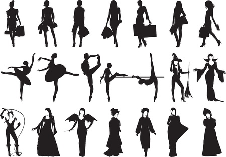different female silhouettes in different situations Vector