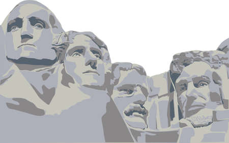 Presidents of Mount Rushmore image on white background
