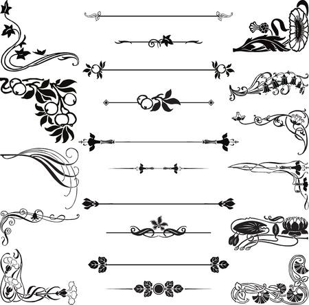 esquineros de flores: Una decoraci�n de estilo Art Nouveau en las esquinas blancas y separadores Vectores