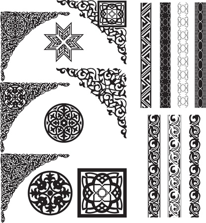 Arabic decor on white corners and dividers Vector
