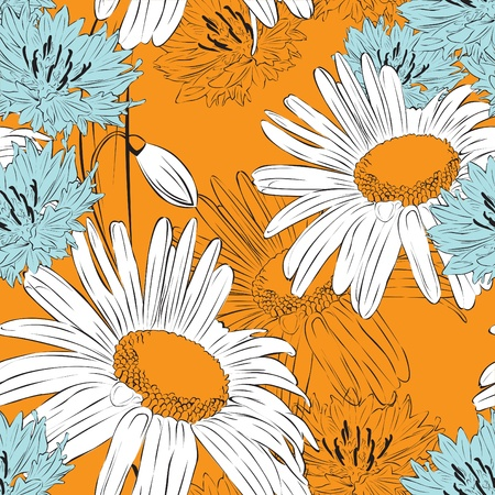 Orange Floral seamless background with spring flowers Stock Vector - 12718626