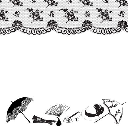horizontal frame of black lace and retro accessories on a white background Illustration