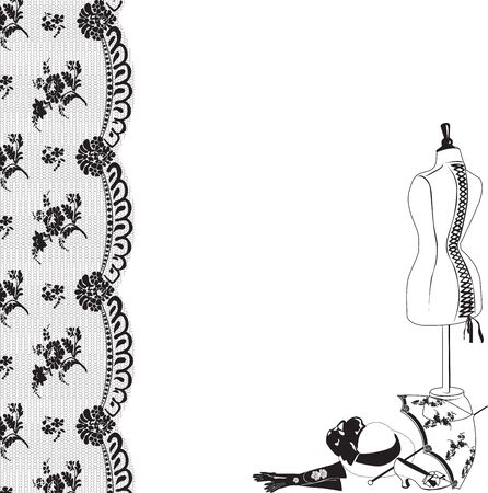 black and white sewing: Vertical frame made of black lace and retro accessories on a white background