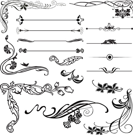 Art Nouveau ornament corners and dividers Stock Vector - 12718637