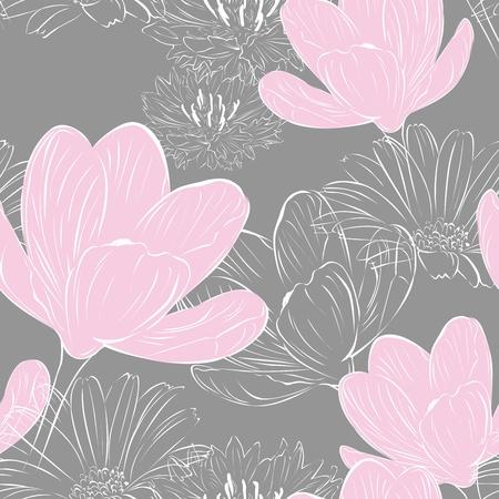 Floral nahtlose grauen Hintergrund mit rosa Krokusse