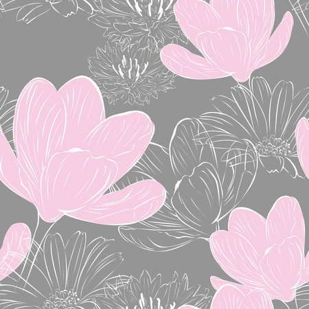 field of daisies: floral seamless gray background with pink crocuses