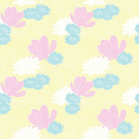floral seamless background with a light field with spring flowers Stock Vector - 12718640