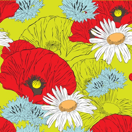 Bright floral seamless background with spring flowers Vector