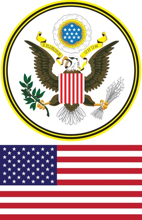 great seal: great seal and flag of the United States on a white background Illustration