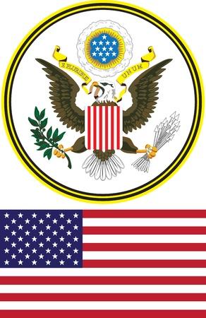 grote zegel en de vlag van de Verenigde Staten op een witte achtergrond