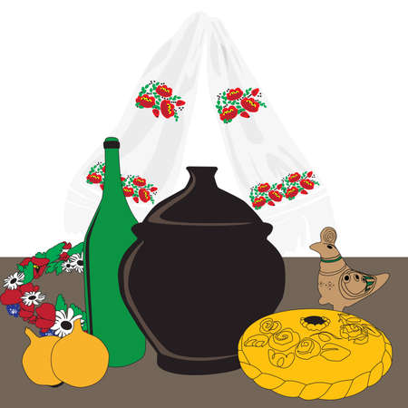 Ukrainian dinner table on a white background Vector