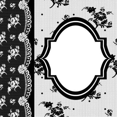 Retro frame on a black lace modern era