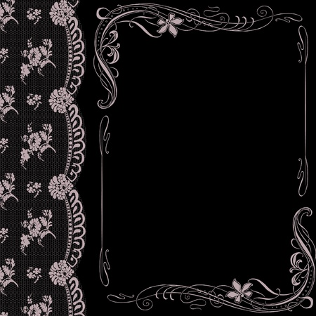 black background with lace and decorated Art Nouveau
