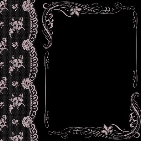 vignette: black background with lace and decorated Art Nouveau