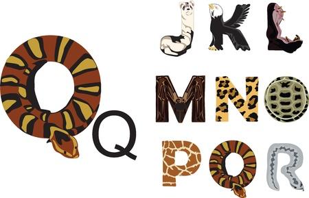 animal alphabet: Alphabet fun with the theme of wild animals Illustration