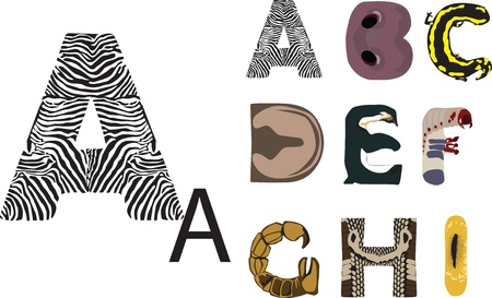 Alphabet fun with the theme of wild animals Vector
