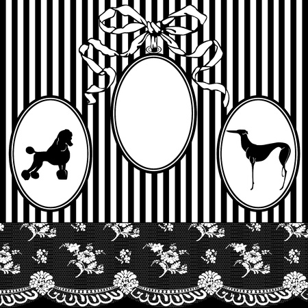 Black and white vintage frame in a modern style with lace, stripes, dog Vector