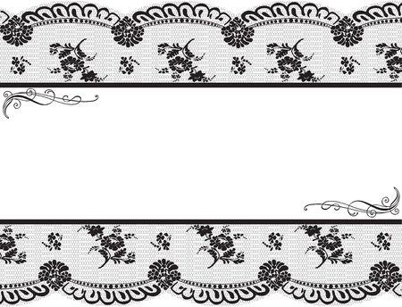 Framed with black lace on a white background Banco de Imagens - 12923716