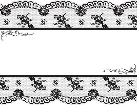 Incorniciata con pizzo nero su sfondo bianco Archivio Fotografico - 12923716