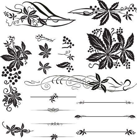 vine border: A set of jewelry from the page Art Nouveau vines. Illustration