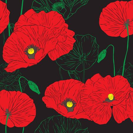floral seamless background with poppies Vector