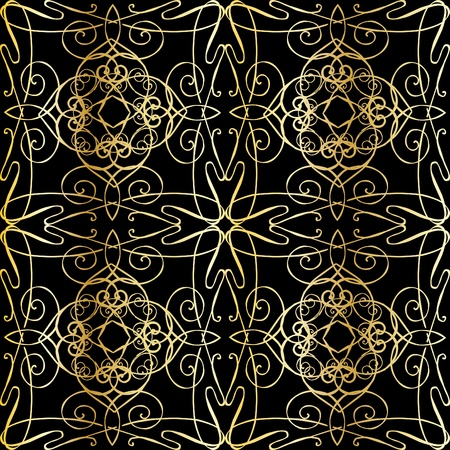 seamless black background with filigree ornamentation in the style of Art Nouveau Stock Vector - 13352432