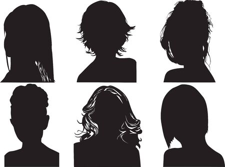 different shapes of womens heads on a white background Иллюстрация
