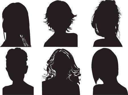 different shapes: diverse forme di donne a capo su uno sfondo bianco