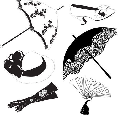 a set of six vintage black accessories on a white background