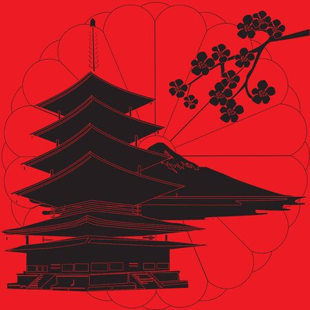 schematically: red background with the symbols of Japan