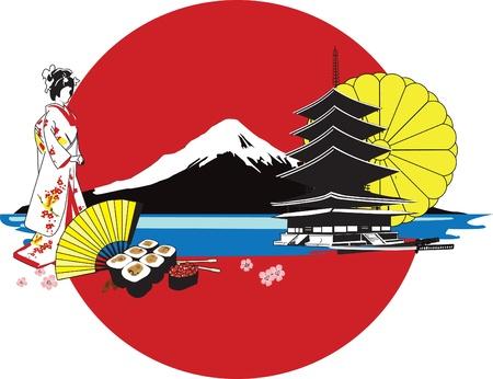 Japanese kimono girl: nền với các nhân vật Nhật Bản