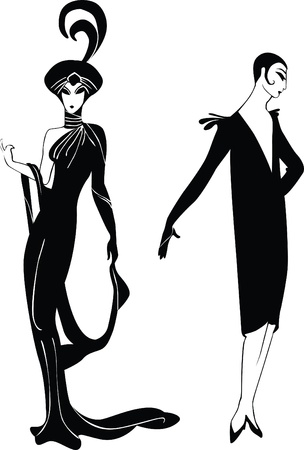 era: black silhouettes of the girls in retro style on a white background