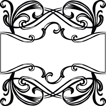black frame with filigree ornament Art Nouveau Stock Vector - 13477512