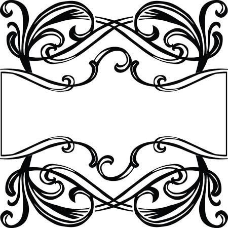 black frame with filigree ornament Art Nouveau Stock Vector - 13477512