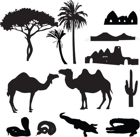 black silhouettes of the characters are African desert Vector