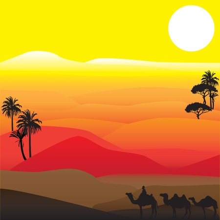 black silhouettes of the characters are African desert