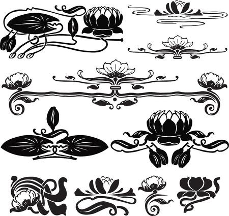een set van sieraden voor pagina-ontwerp met lotus