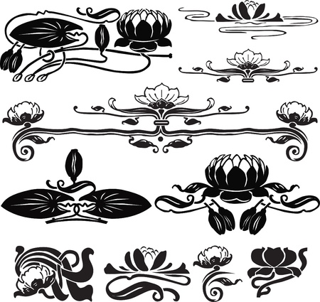 a set of jewelry for page design with lotus Illustration