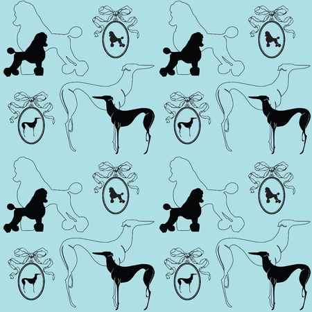 poodle: seamless elegant blue background with dogs