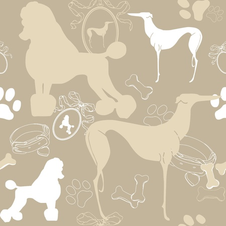 sheepdog: Seamless beige background with dogs, and accessories Illustration