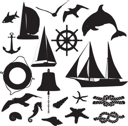 schnorchel: Satz von Silhouetten als Symbol f�r die Freizeitschifffahrt Illustration