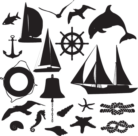 set of silhouettes symbolizing the marine leisure Illustration