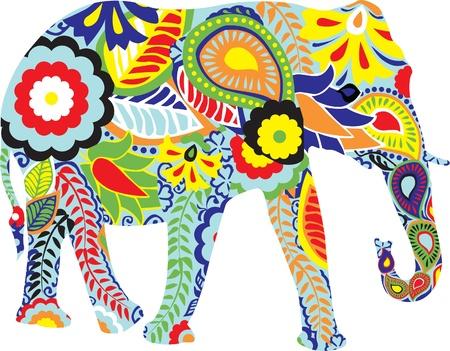 Elefant: Silhouette eines Elefanten mit bunten indischen Designs