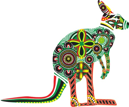 silhouette of a kangaroo with colorful patterns of Australian Aborigines