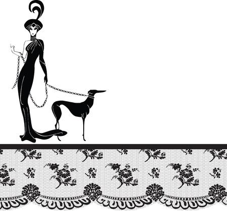 frau mit hund: Rahmen mit Vintage-Spitze und einer High-Fashion-Modell Illustration