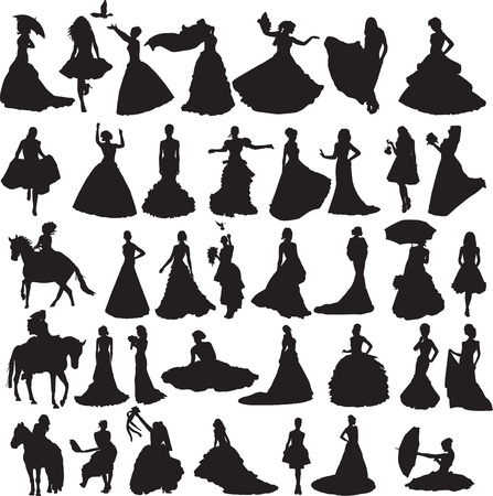 many silhouettes of brides in gowns of different situations and on a white background Vector