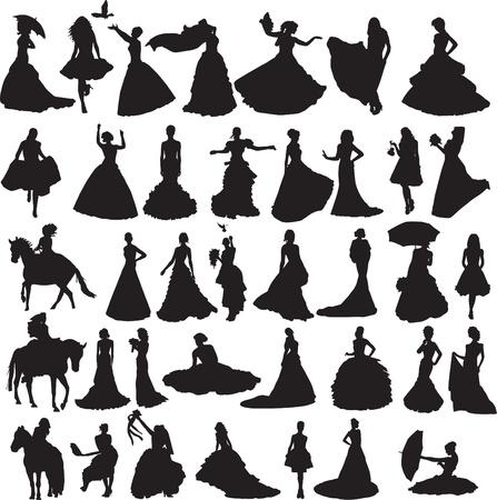 vele silhouetten van bruiden in toga's van de verschillende situaties en op een witte achtergrond Stock Illustratie