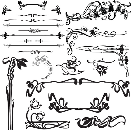 set of ornate decorations for a page with bells